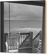 Storm-rocked Beach Chairs Wood Print