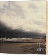 Stormy Beach At The Coast Of South Carolina Wood Print