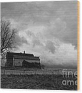 Stormy Day On The Farm Wood Print