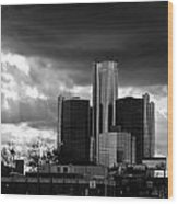 Stormy Detroit Gm Building - Black And White Wood Print by Alanna Pfeffer
