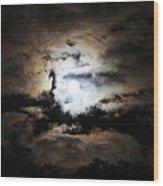 Stormy Moon Wood Print