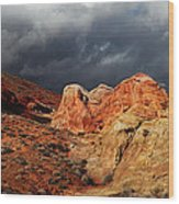 Stormy Skies Over Valley Of Fire Wood Print