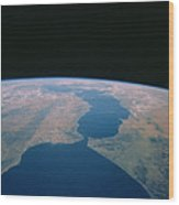 Strait Of Gibraltar From Space Shuttle Wood Print