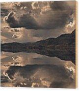 Strange Clouds Reflected Wood Print