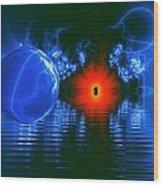Strange Lights On The Lake Wood Print by Pam Blackstone