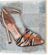 Strappy Striped Sandal Wood Print