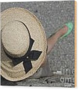 Straw Hat And Green Shoes Wood Print