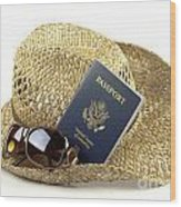 Straw Hat With Glasses And Passport Wood Print