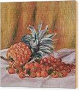 Strawberries And Pineapple Wood Print