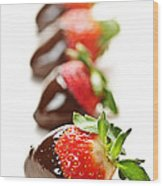 Strawberries Dipped In Chocolate Wood Print