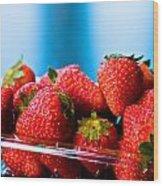 Strawberries In A Plastic Sale Box  Wood Print