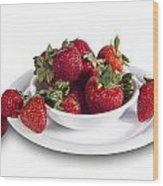 Strawberries In A White Bowl No.0029v1 Wood Print