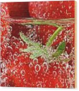 Strawberries In Water Close Up Wood Print