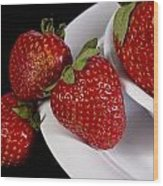 Strawberry Arrangement With A White Bowl No.0036 Wood Print