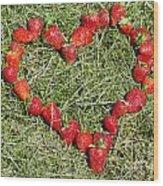 Strawberry Heart Wood Print