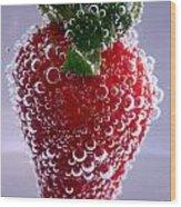 Strawberry In Soda Water Wood Print by Soultana Koleska