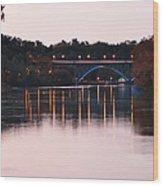 Strawberry Mansion Bridge At Dusk Wood Print