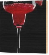 Strawberry Margarita In Front Of A Black Background Wood Print