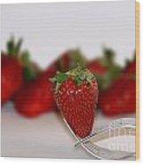 Strawberry On Spoon Wood Print