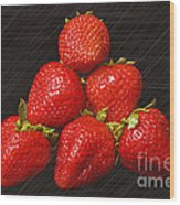 Strawberry Pyramid On Black Wood Print by Andee Design