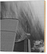 Streaks And Puffs Over City Hall Wood Print