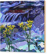 Stream And Flowers Wood Print