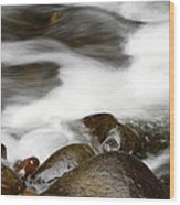 Stream Flowing Over Rocks Wood Print