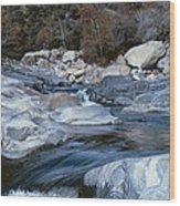 Stream Flowing Through The Rocks Wood Print