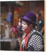 Street Clown At Central Park Wood Print
