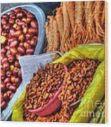 Street Food Snacks In Seoul Wood Print