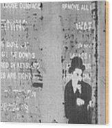 Street Graffiti Art - The Little Tramp Bw Wood Print