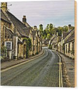 Street In Castle Combe Wood Print