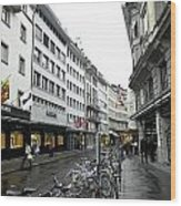 Street In Lucerne With Cycles And Rain Wood Print