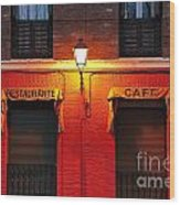 Street Lamp Cafe Wood Print