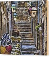 Street Lane In Dubrovnik Croatia Wood Print