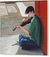 Street Musician 3 Wood Print