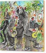 Street Musicians In Cyprus Wood Print