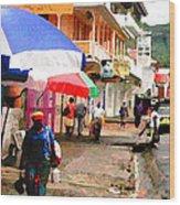 Street Scene In Rosea Dominica Filtered Wood Print