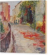 Streets Of Old Cannes Wood Print
