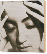 Stressed Woman Wood Print