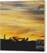 Stripey Sunset Silhouette Wood Print