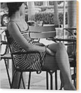 Stripped Dress Lady Wood Print