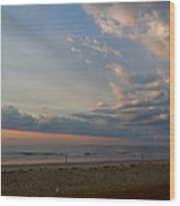 Strolling At Sunrise On The Shore Of Maine Wood Print