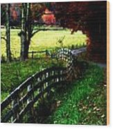 Strolling Down The Old Country Road Wood Print