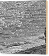 Strolling On Connecticut Beach Wood Print