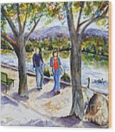 Strolling Virginia Lake Wood Print