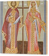 Sts Constantine And Helen Wood Print by Julia Bridget Hayes