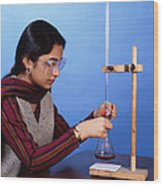 Student Performing Titration Wood Print