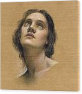 Study Of A Head Wood Print by Evelyn De Morgan