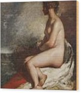 Study Of A Seated Nude Wood Print